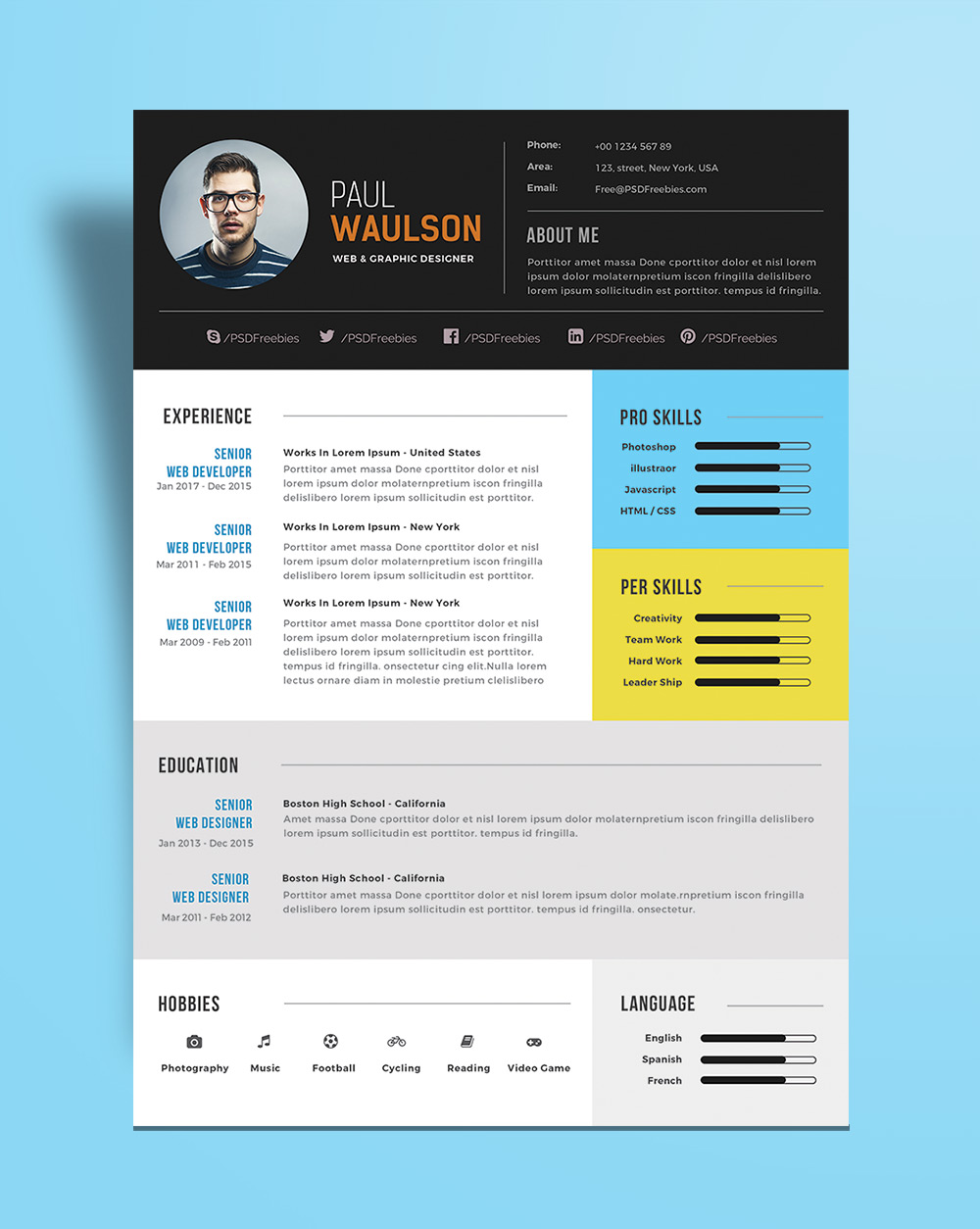 Free Modern Resume Template For Web  Graphic Designer PSD File  Good Resume