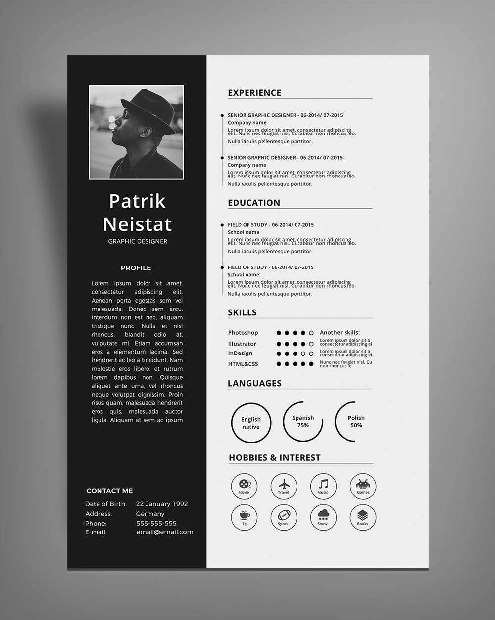 Simple Resume CV Design Template Free PSD File  Good Resume