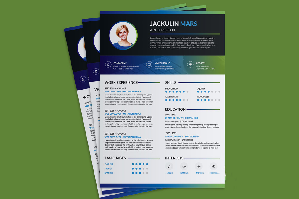 Beautiful Resume CV Design Template Free PSD File  Good Resume