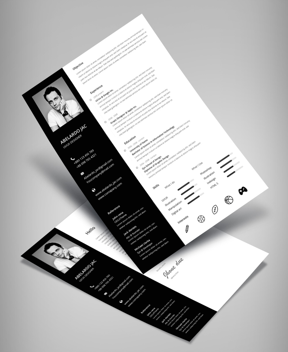 Classy Black  White Resume CV Template With Cover