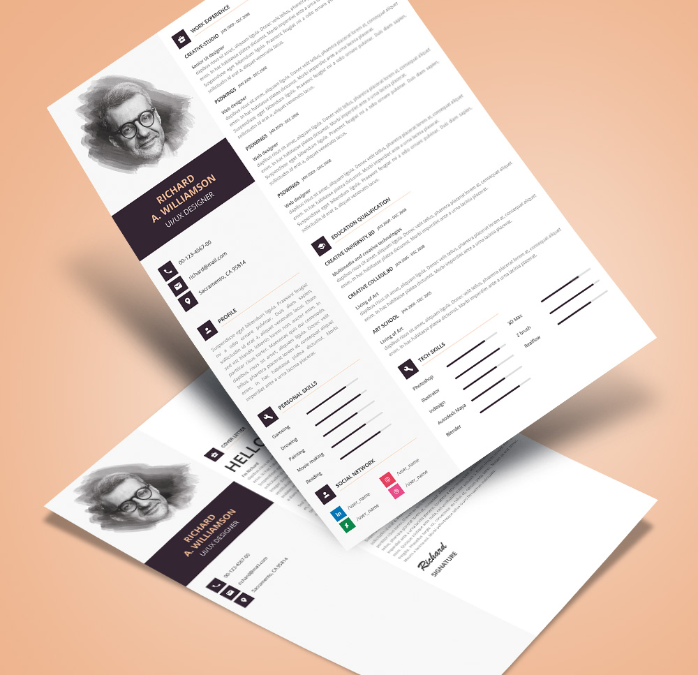 Creative Professional Resume (Cv) Design Template With Cover Letter Psd File