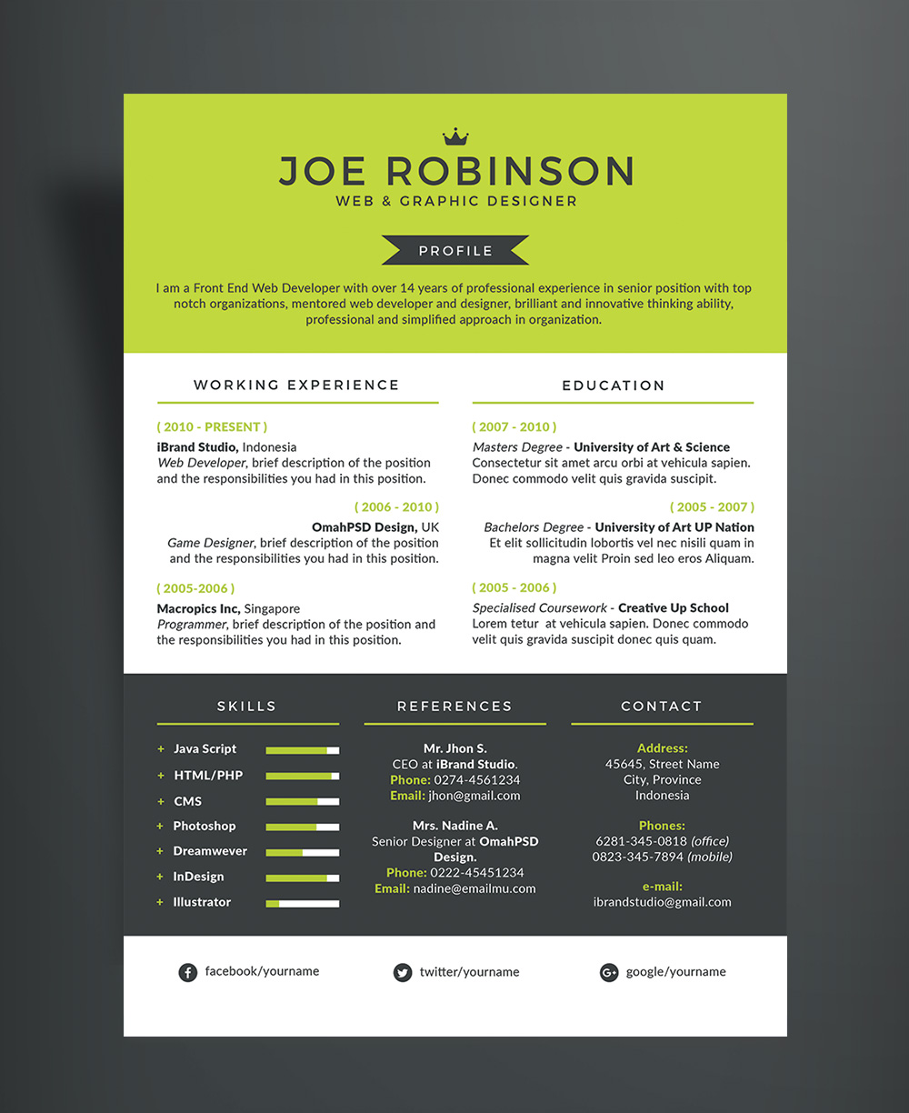 Free Elegant  Professional Resume CV Design Template in 3 Different Colors PSD File  Good Resume