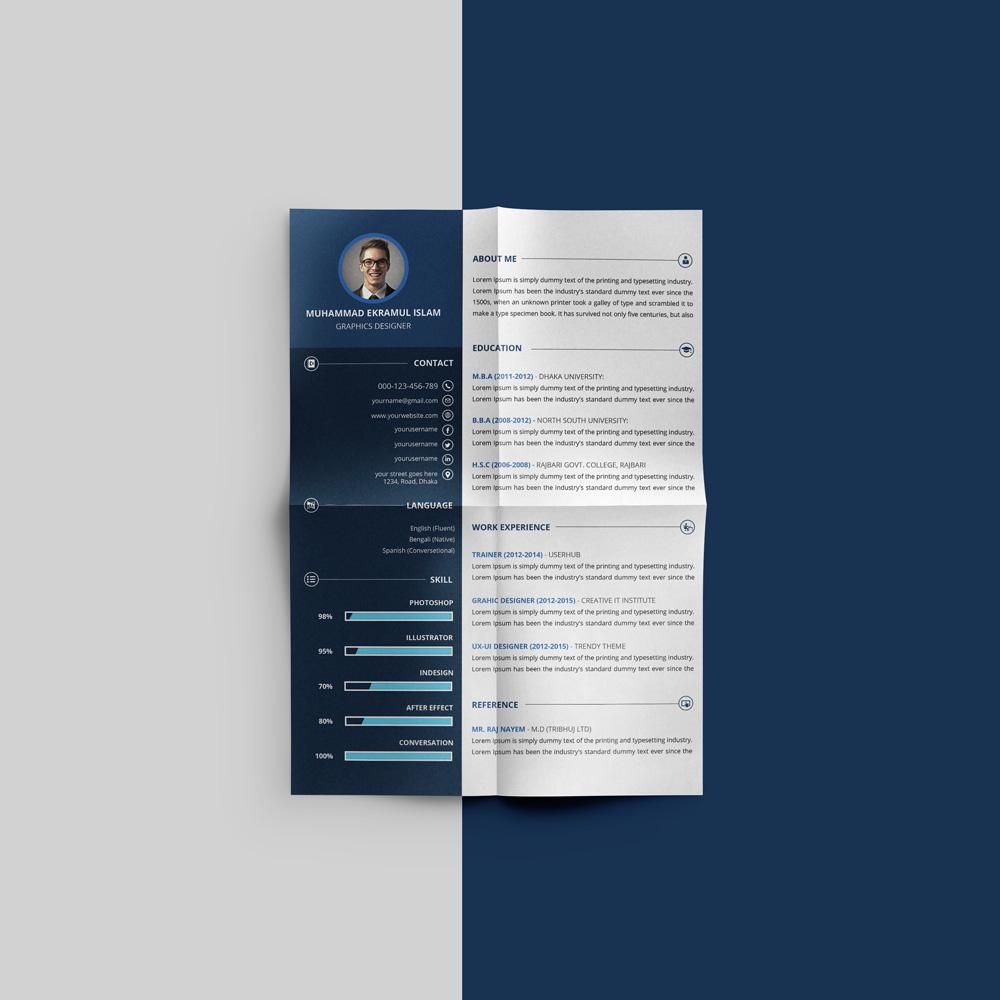 Free Beautiful Resume CV Design Template PSD File  Good Resume