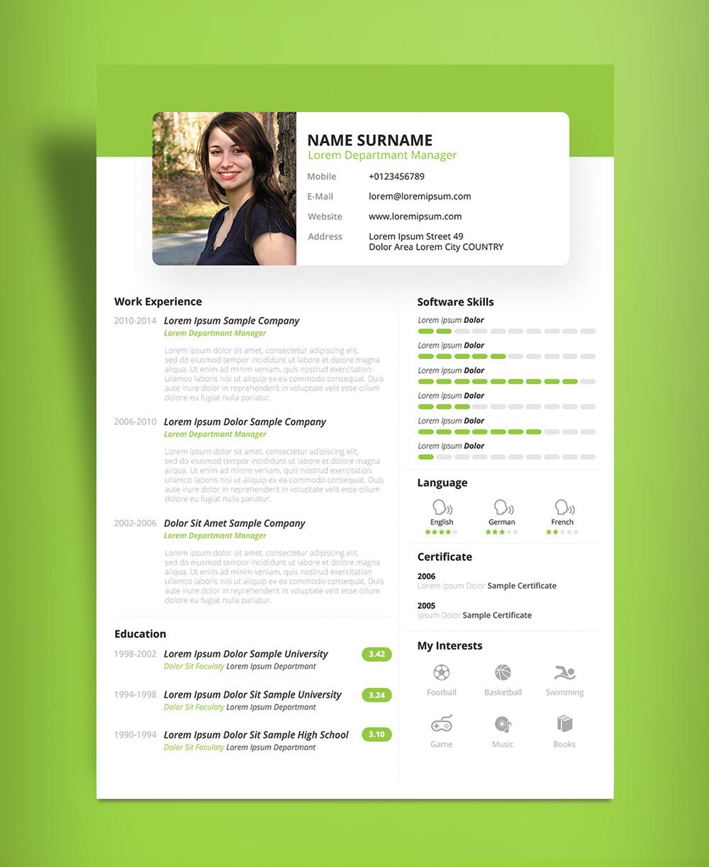 Free Beautiful Resume CV Design Template PSD  PPT File  Good Resume