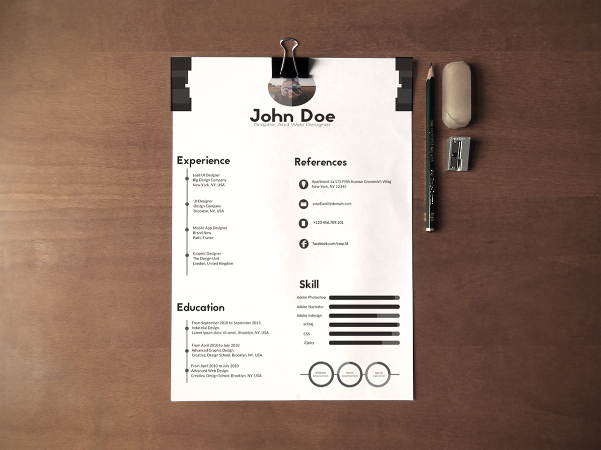 Free Black  White Minimalistic Resume CV Design Templates Ai File  Good Resume