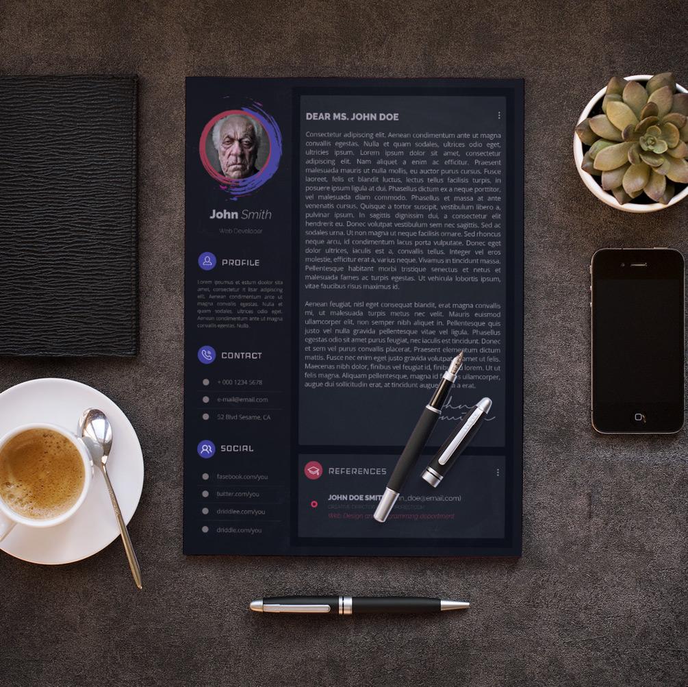 Free Dark & Modern Resume CV Design Template With Cover