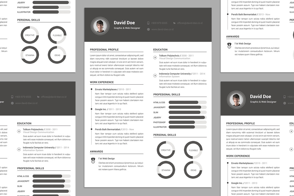 Free Elegant Resume CV Design Template PSD File Good