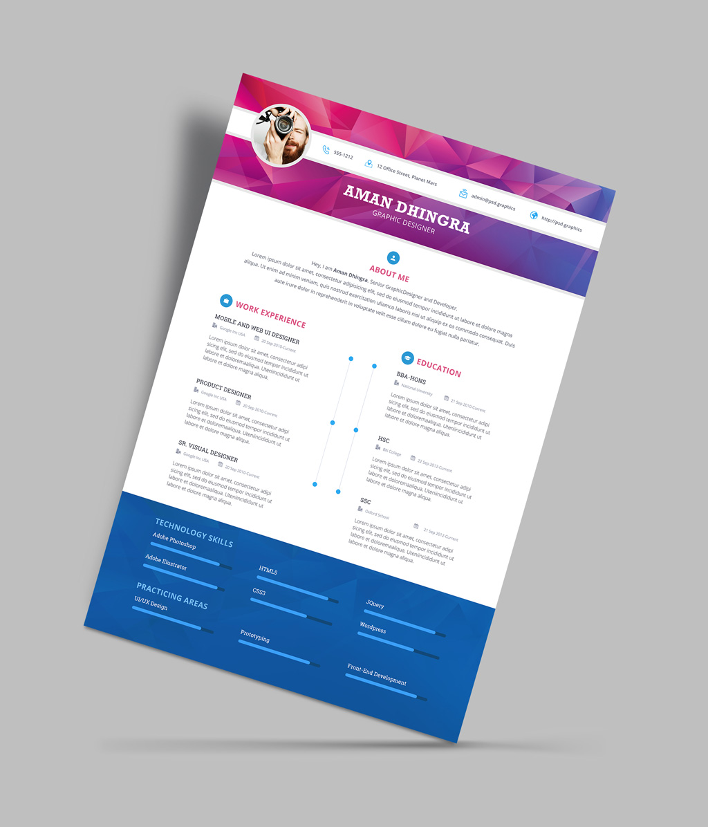 Resume Psd Template Free Professional Resume Cv Design Template For