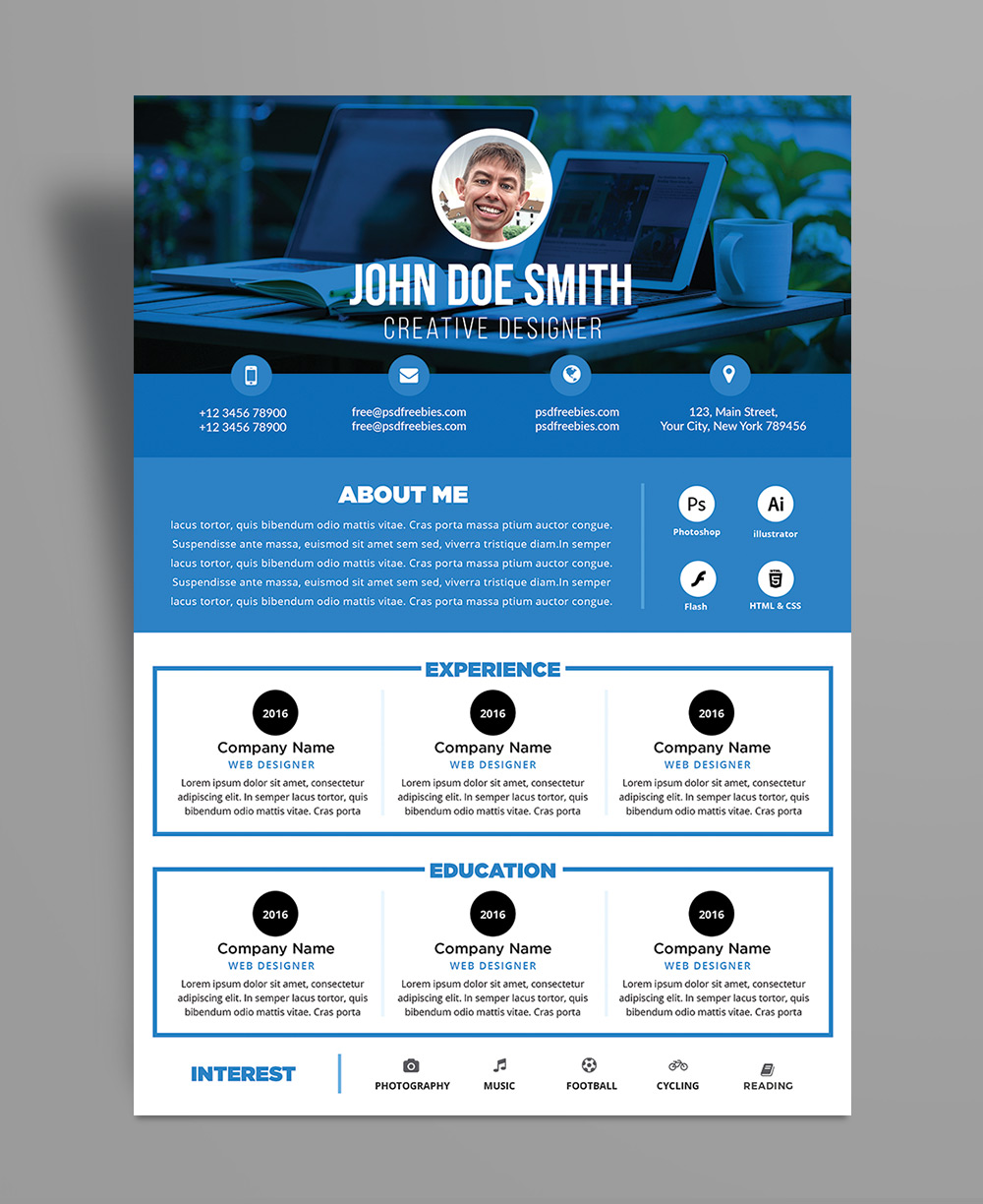 Free Professional Resume CV Design Template PSD File
