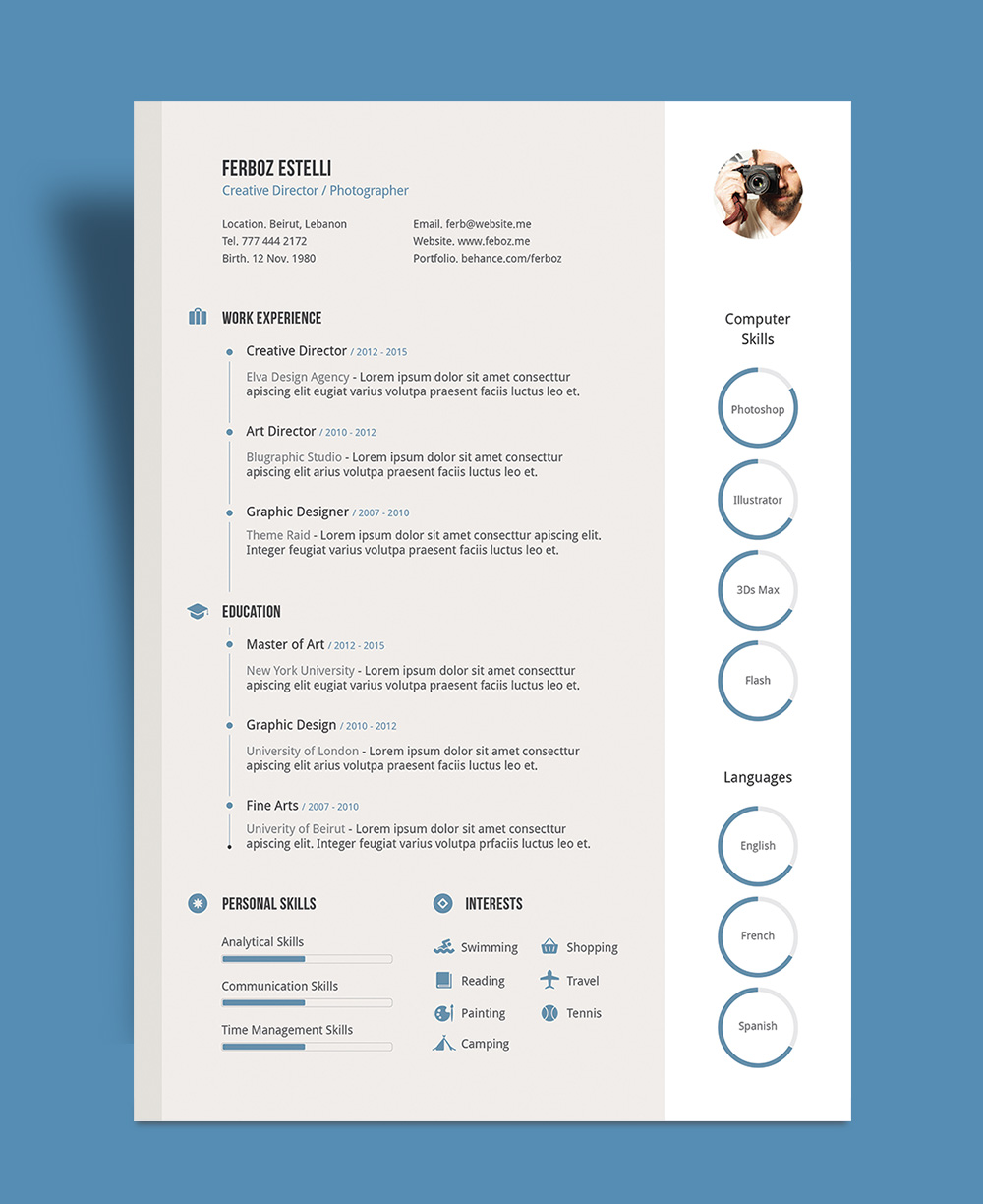 Free Professional Resume CV Template With Cover Letter  Portfolio in Ai For Graphic Designer