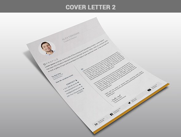free cv resume psd template with cover letter