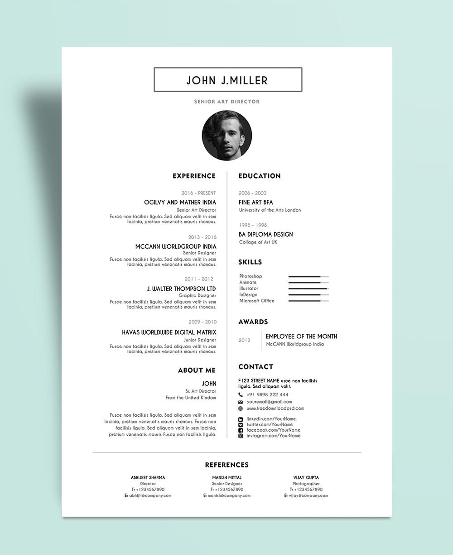Free Simple Resume Layout CV Design Template PSD File