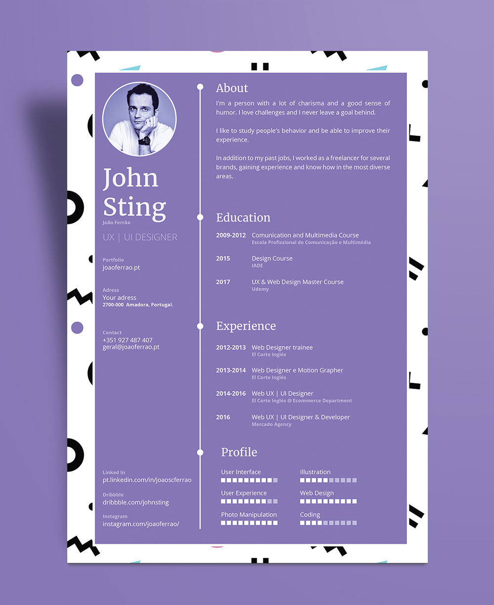 Simple Minimalist Resume CV Design Template Ai File