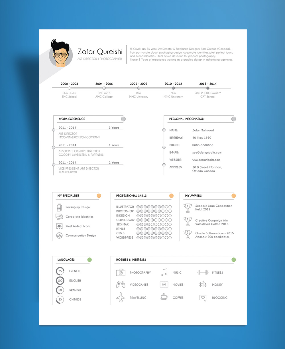 Free Simple Resume CV Template Design For Art Director  Photographer Ai File  Good Resume