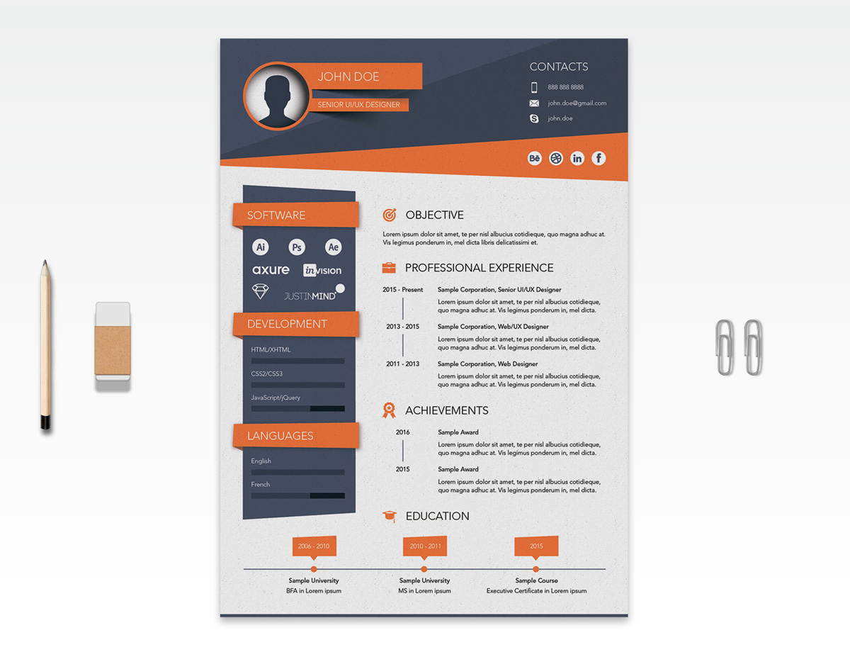 Free Creative Resume CV Design Template Ai File Good