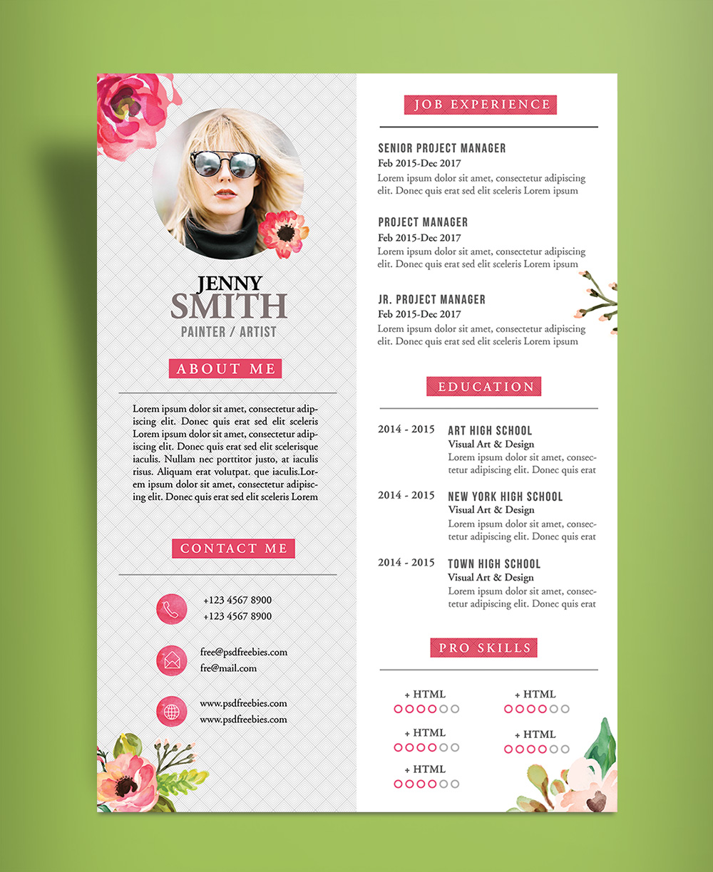 Free Artistic Resume CV Design Template PSD File Good