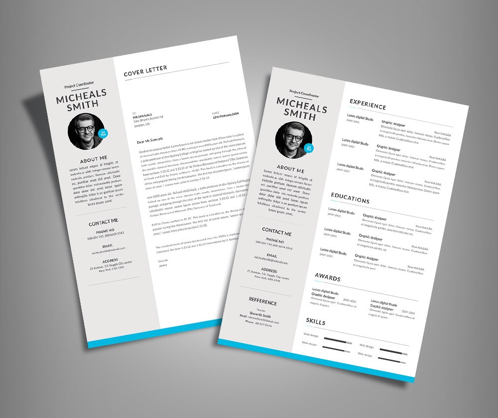 Free Professional Resume CV Design With Cover Letter Available in 2 Colors PSD File  Good Resume