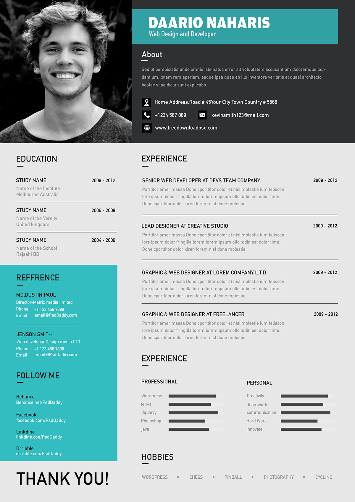 What Size Font Should A Resume Be Typed In Best Free Modern Resume Template In Psd Format Good Resume