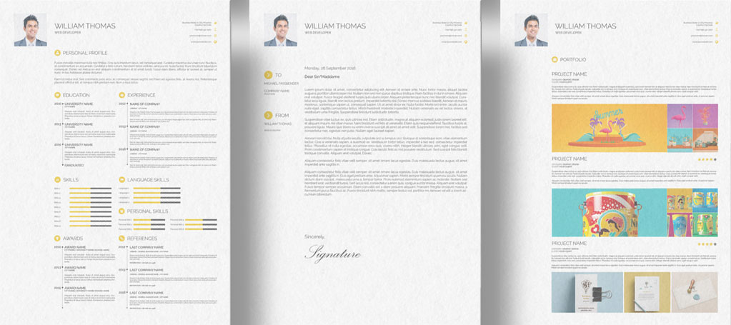 Free CV Resume Cover Letter & Portfolio Design Template
