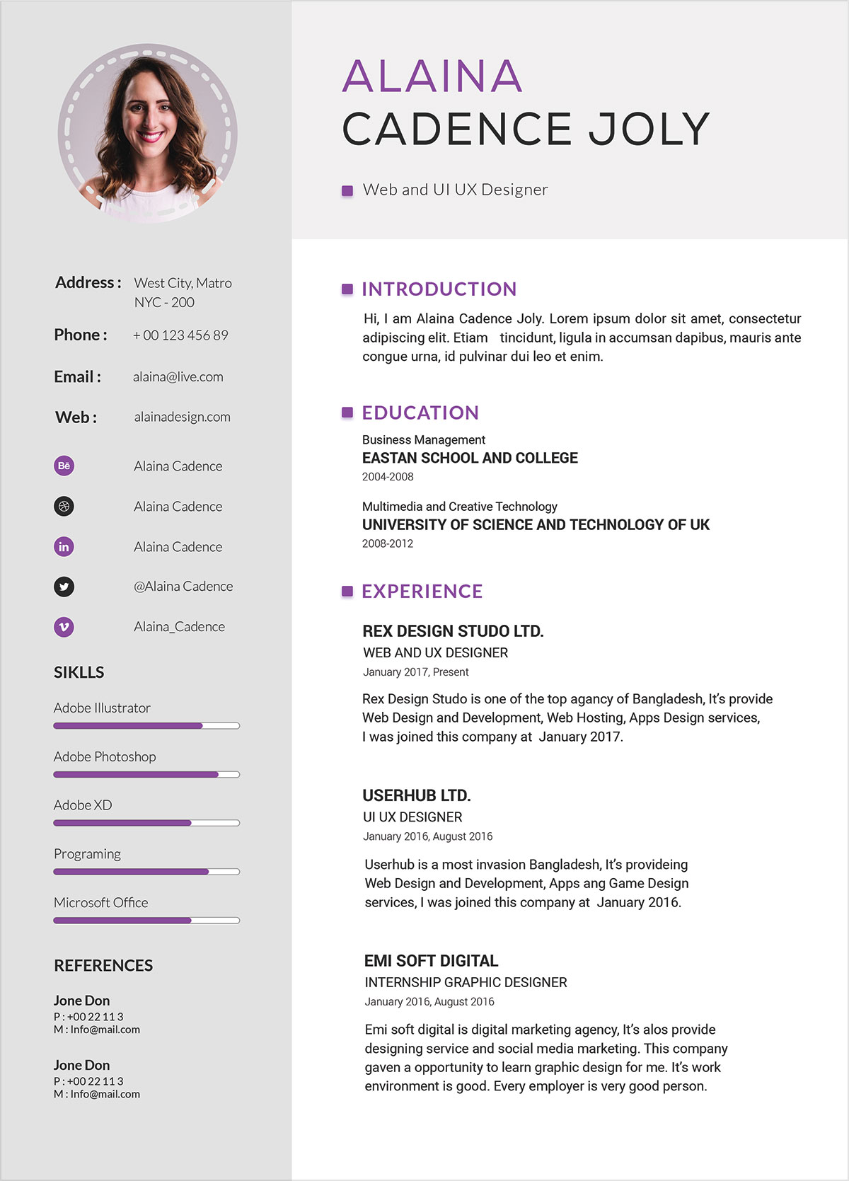 What Size Font Should A Resume Be Typed In Free Clean And Professional Resume With Cover Letter Psd