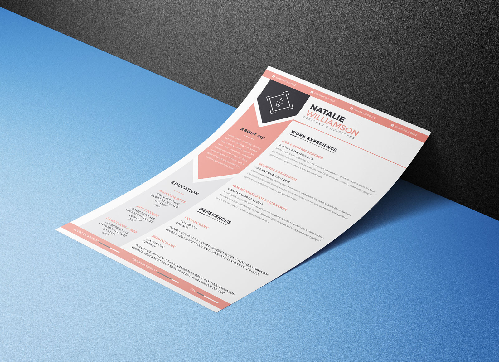 Free Modern Resume/ CV Template & Cover Letter In Ai Format For ...