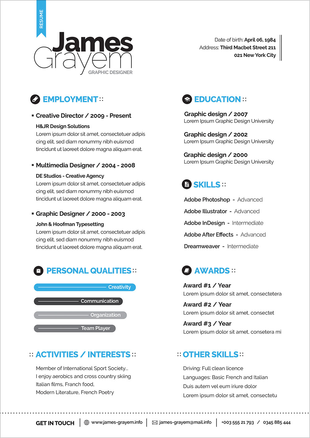 free resume templates download psd