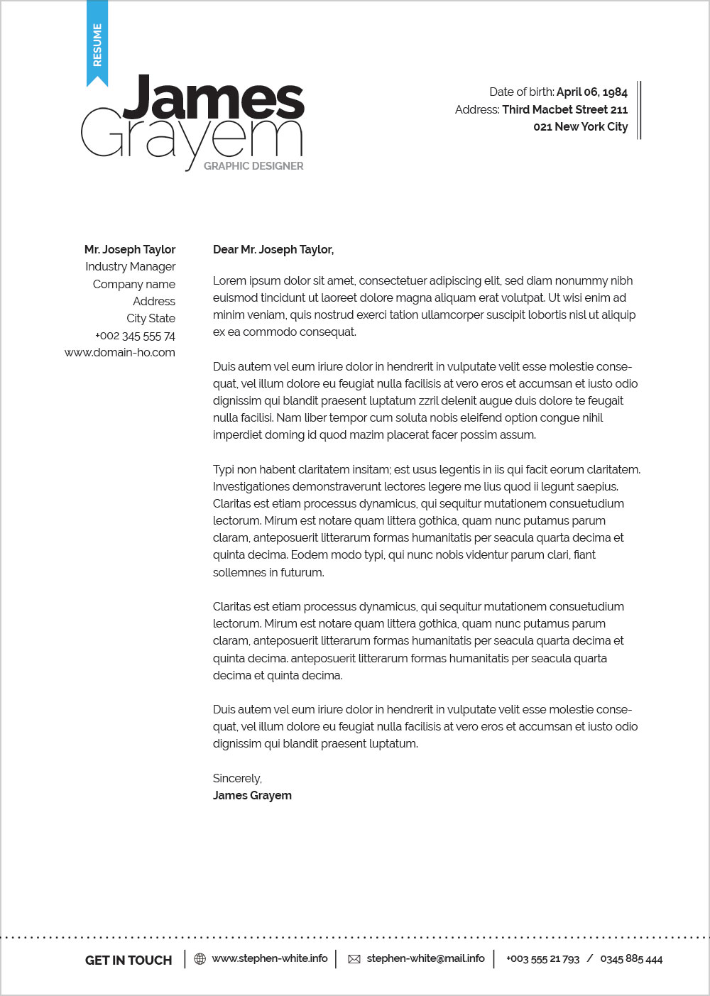 Free Professional Resume CV Template  Cover Letter For Creative Director  Good Resume