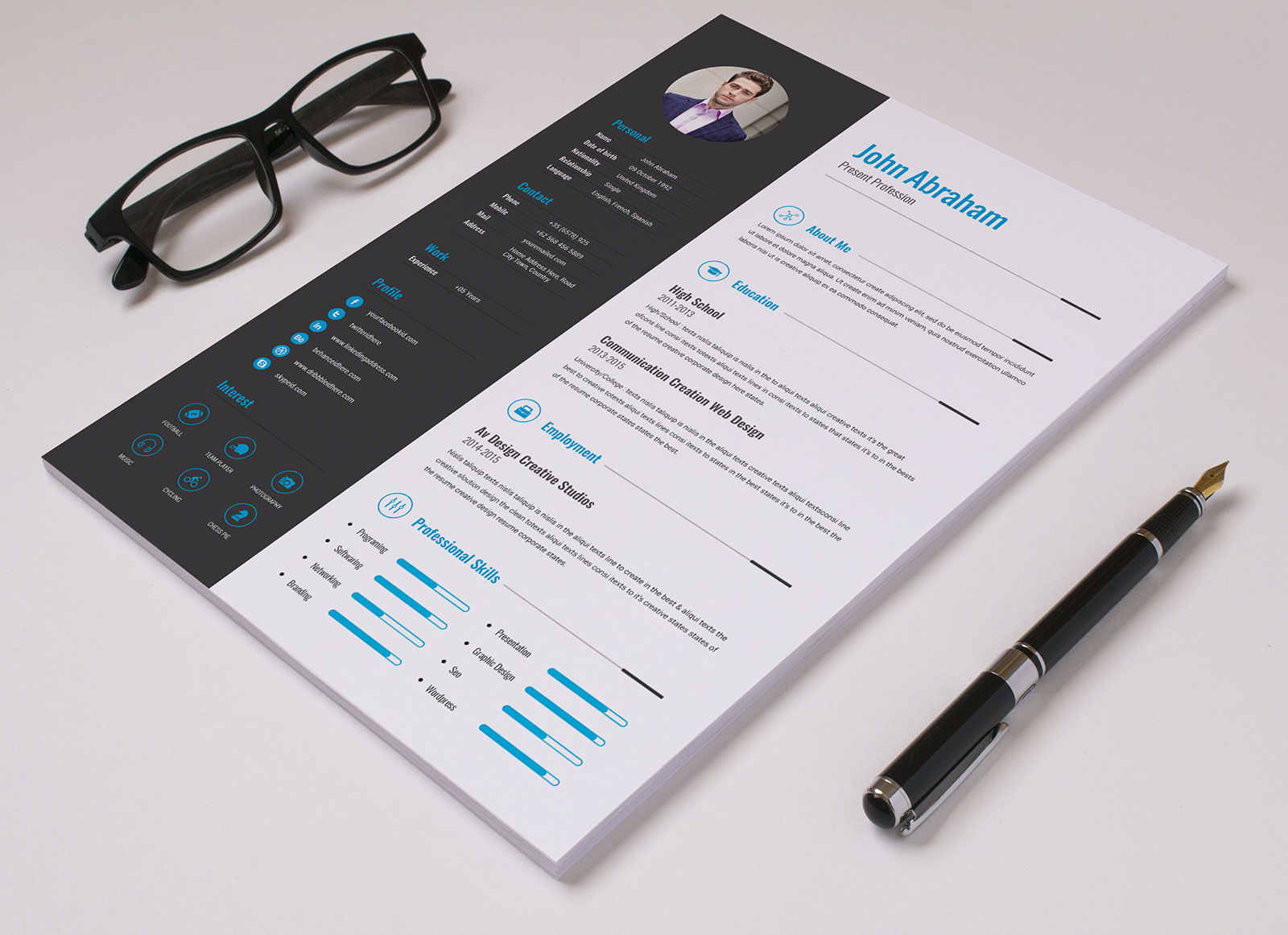 Free Professional Resume Template  Cover Design In INDD PSD Ai  Word DOCX  Good Resume