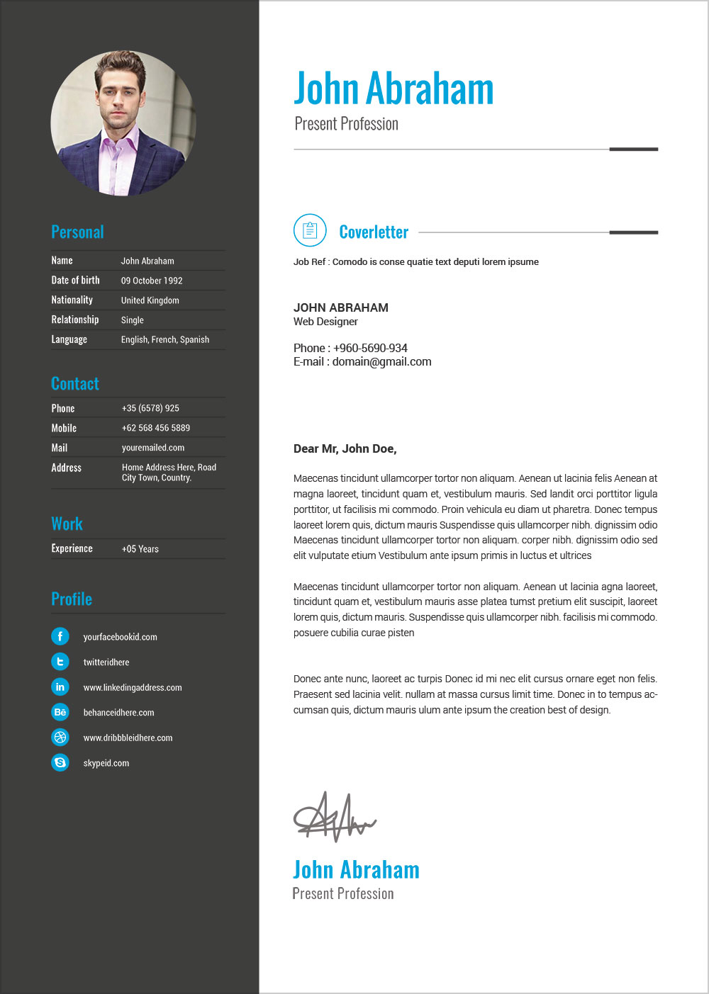 Free Professional Resume Template  Cover Design In INDD