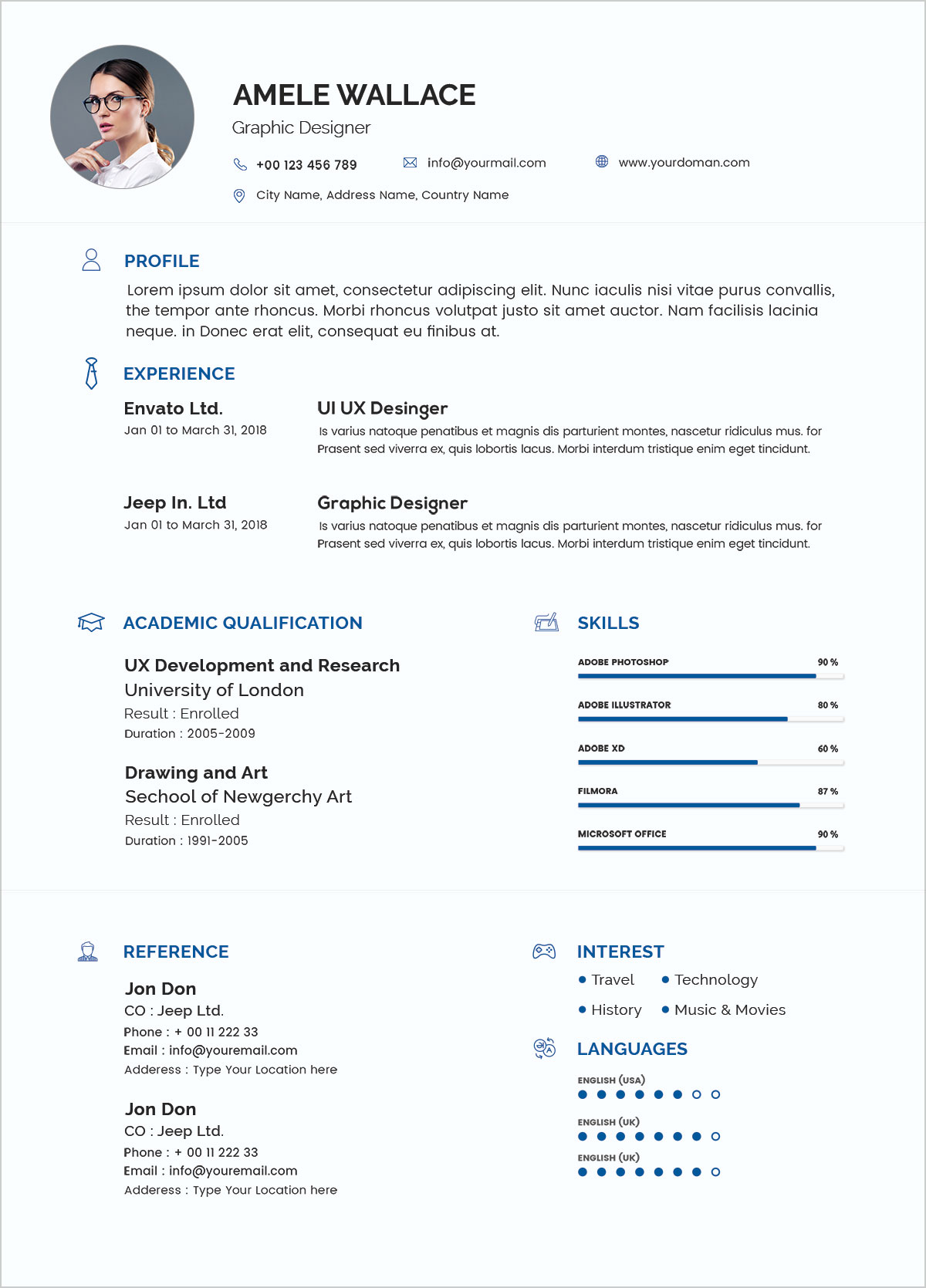 Free Simple Resume Template In Photoshop PSD Format  Good