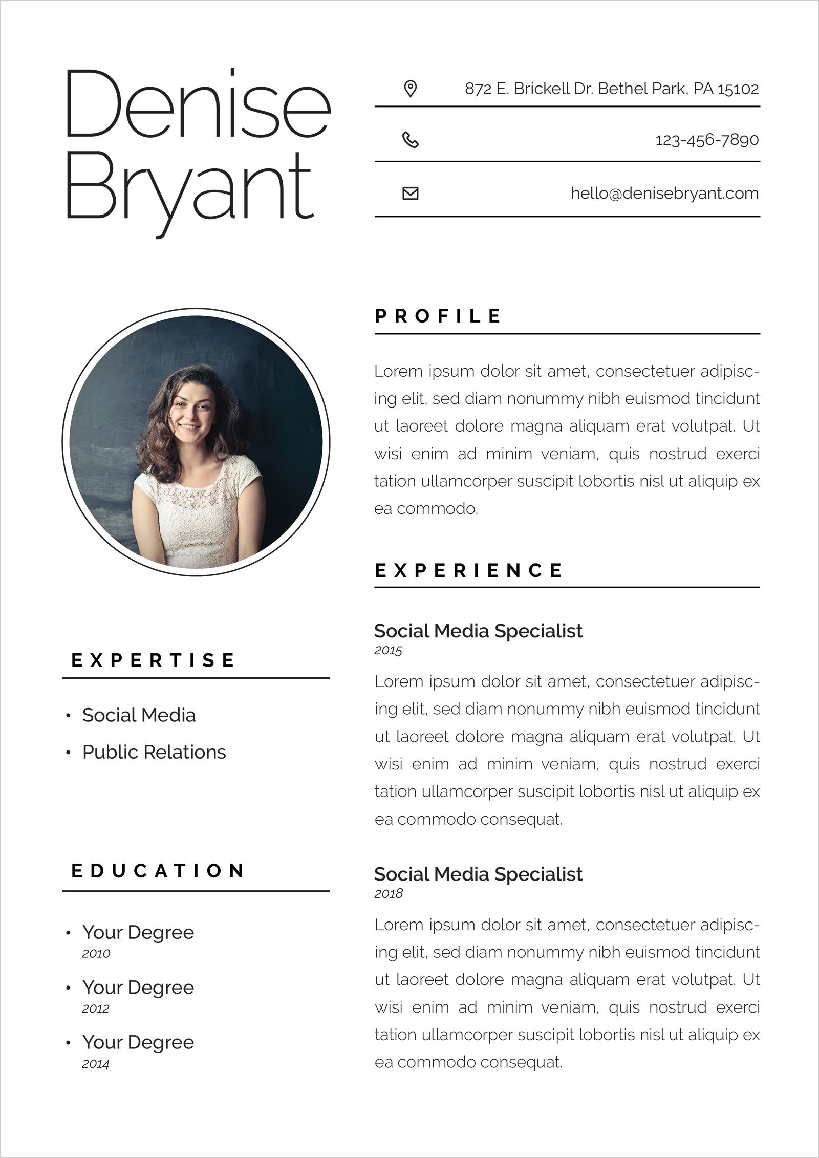 Free Ai Resume CV Format For Social Media Specialists  Public Relation Officers  Good Resume