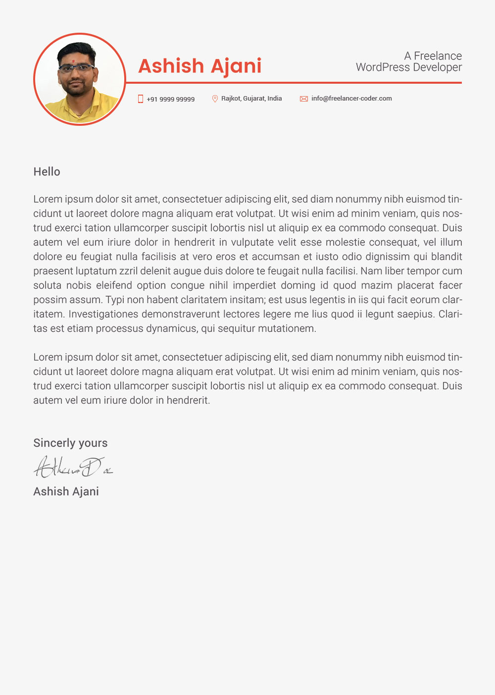 Developer Cover Letters Free Psd Resume Template Cover Letter For Php Wordpress