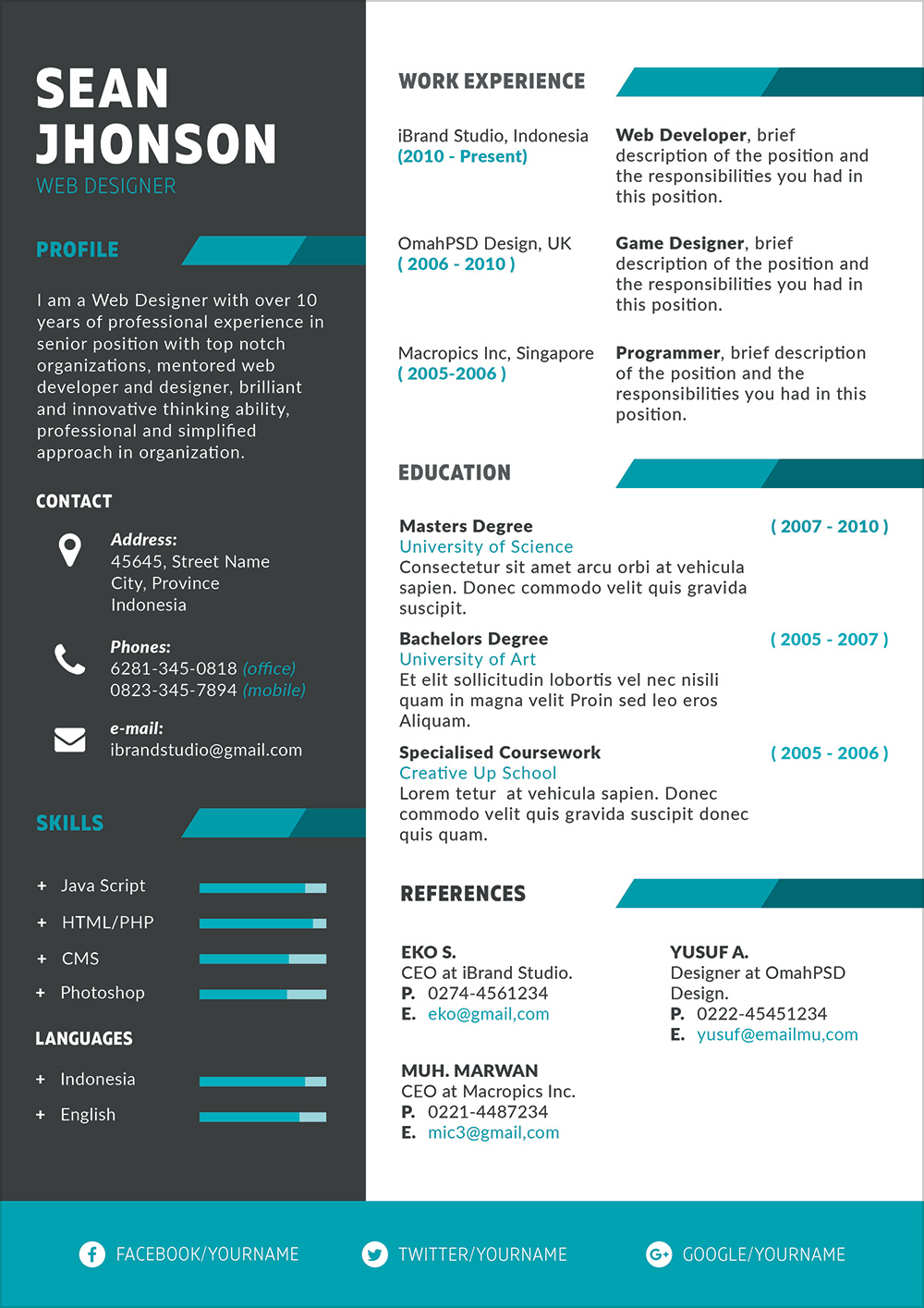 Free Professional PSD Resume Template And Cover Letter For