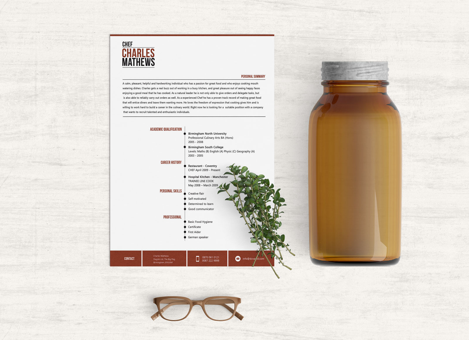 Free Psd & Word Cv Template For Chefs