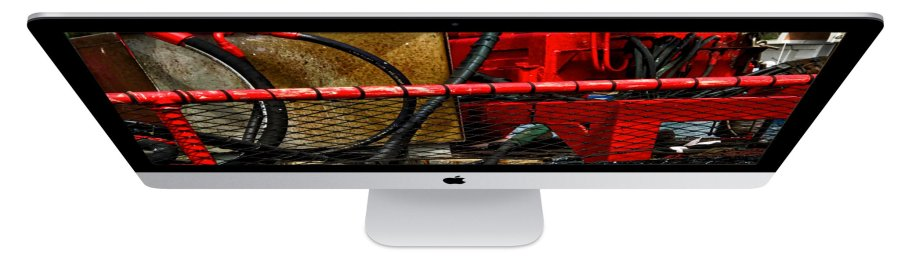 thin iMac bwith red