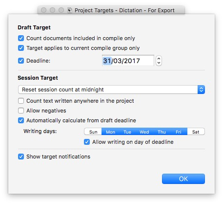 Loads of settings in Scrivener