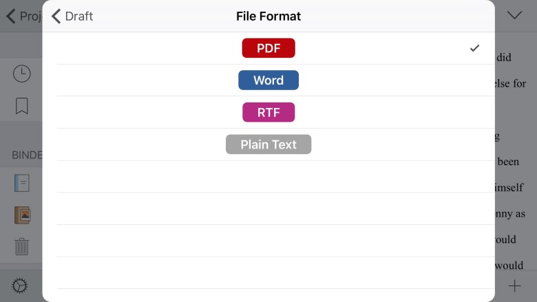 Export out of Scrivener iOS