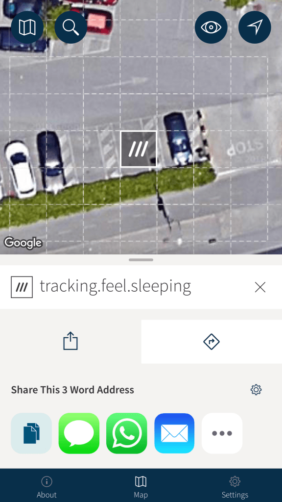 Share the What3Words Address
