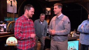 O'Connor with Michigan Football Coach Jim Harbaugh (Right) and show host Dan Patrick (Center).