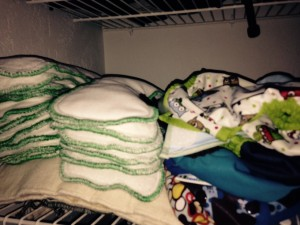 Our cloth diaper stash deep in a generally unopened closet.