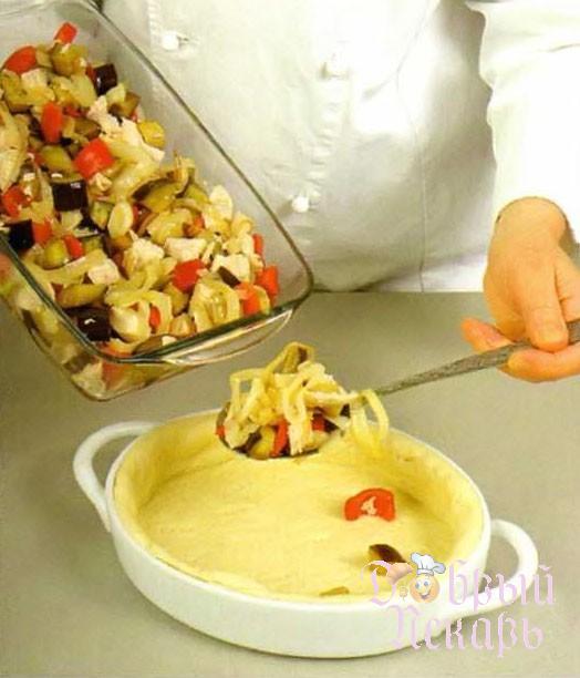 Пирог с баклажанами и куриной грудкой приготовление 5