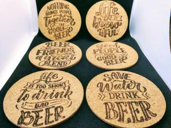 Cork coasters motivational or beer quote