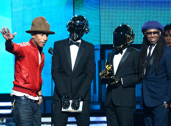 Pharrell Williams, Daft Punk and Nile Rodgers accept Best Duo/Group Grammy Award