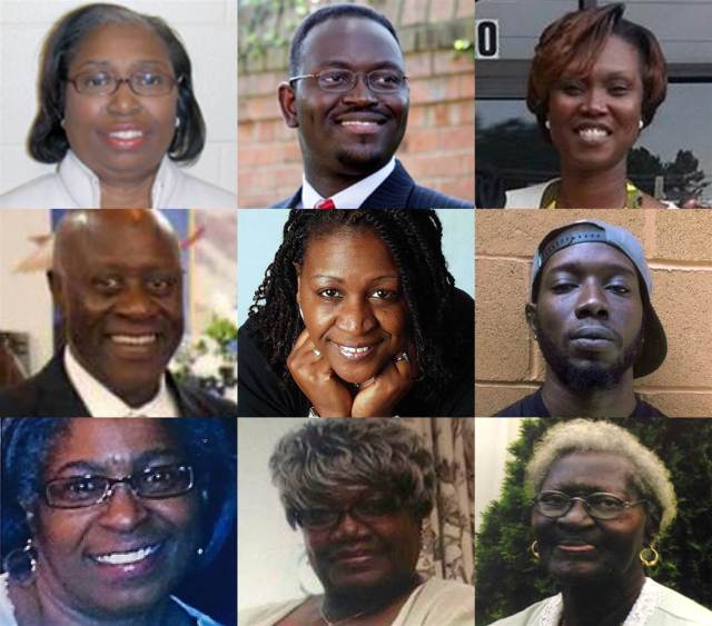 Nine victims of the Charleston church shooting. Top row: Cynthia Hurd, Rev. Clementa Pinckney, Rev. Sharonda Coleman-Singleton Middle row: Daniel Simmons, Rev. Depayne Middleton Doctor, Tywanza Sanders Bottom row: Myra Thompson, Ethel Lee Lance, Susie Jackson Via Facebook and Getty Images