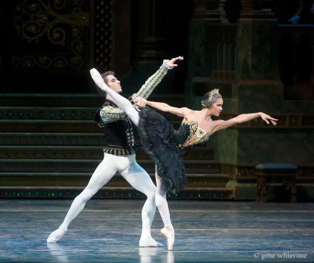 "This photo provided by American Ballet Theater, Misty Copeland and James Whiteside appear in ""Swan Lake"" at the Metropolitan Opera House on June 24, 2015. It was Copeland's New York debut in the lead role, a key moment for her fans who hope she'll soon be named American Ballet Theater's first black principal dancer. (Gene Schiavone/American Ballet Theater via AP)"