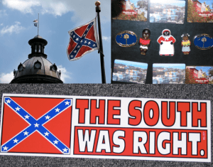 South Carolina State Capitol Building (top left); Mammy magnets for sale to Charleston tourists (top right); bumper sticker souvenir (bottom)
