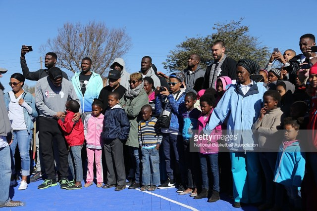NBA players interact with the children during the NBA Cares Court Dedication as part of the Basketball Without Boarders program on July 31, 2015 at the SOS Children's Village in Ennerdale, South Africa. (Getty Images)