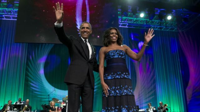 President Barack Obama and first lady Michelle Obama arrive at Congressional Black Caucus Foundation's Annual Awards. (photo via foxiness.com)