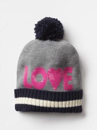 Sequin love pom-pom beanie - The Gap