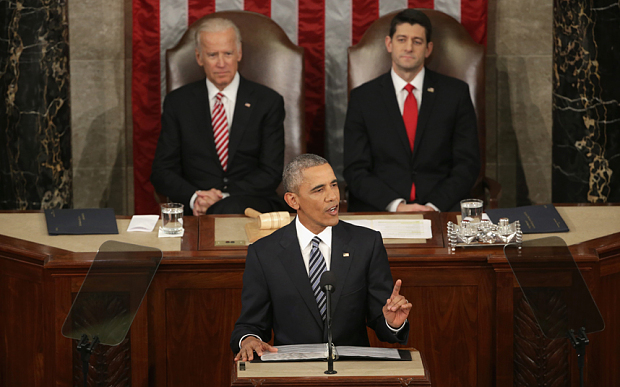 President Barack Obama delivers his State of the Union address before a joint session of Congress on January 12, 2016 at the US Capitol in Washington, DC. (Photo via telegraph.co.uk)